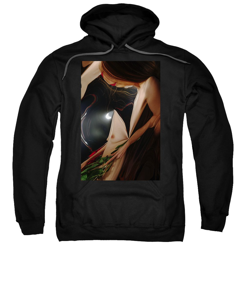 Female Nude Abstract Mirrors Flowers Photographs Sweatshirt featuring the photograph Kazi1193 by Henry Butz
