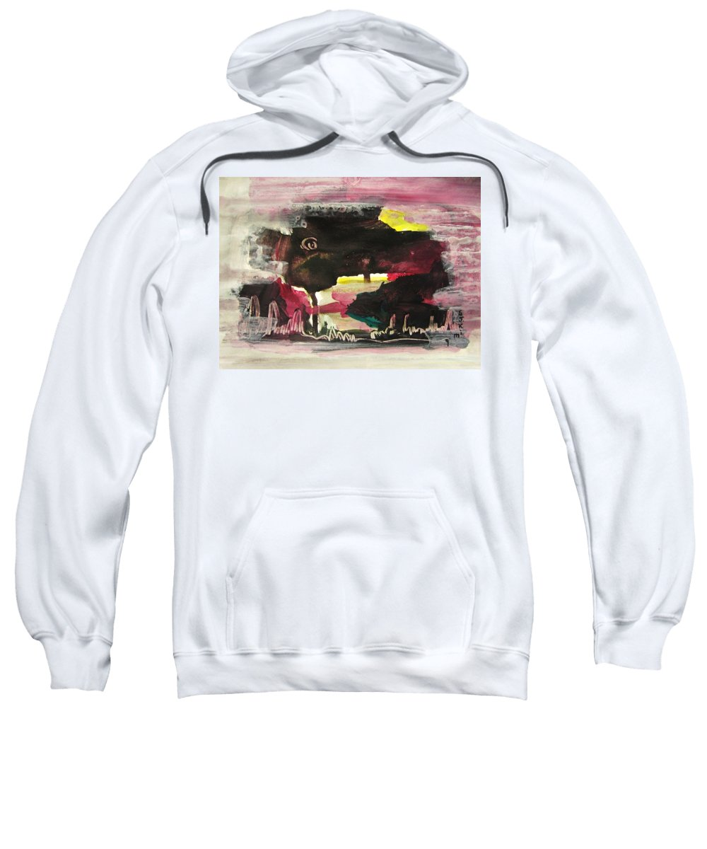 Dusk Paintings Sweatshirt featuring the painting Abstract Twilight Landscape71 by Seon-Jeong Kim