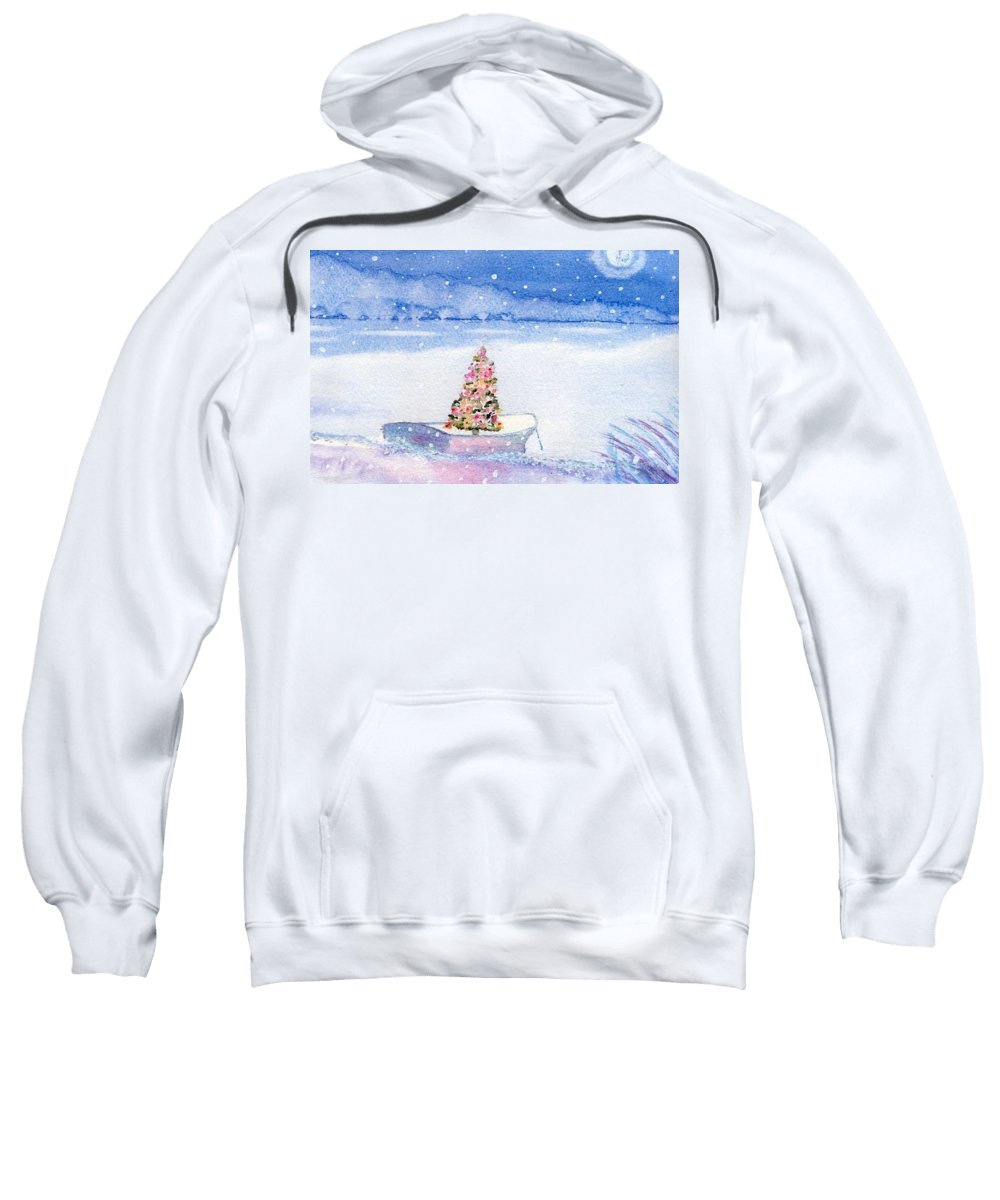 Cape Cod Sweatshirt featuring the painting Cape Cod Christmas Tree by Joseph Gallant