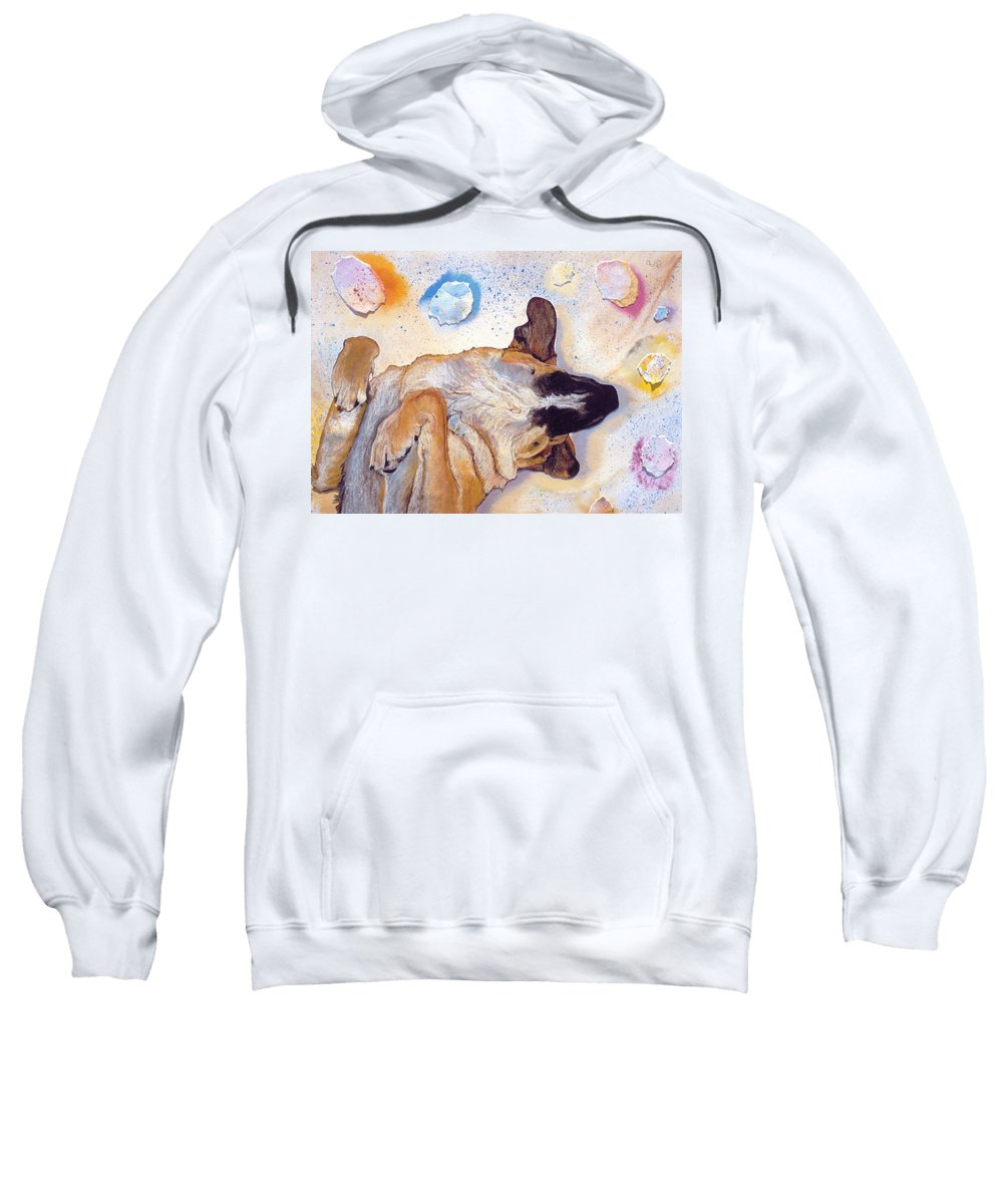 Sleeping Dog Sweatshirt featuring the painting Dog Dreams by Pat Saunders-White
