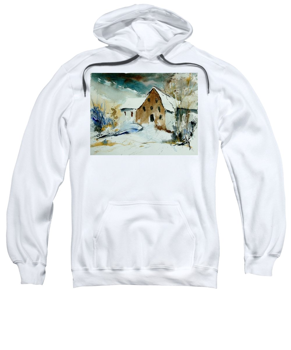 Winter Sweatshirt featuring the painting Watercolor 9696 by Pol Ledent
