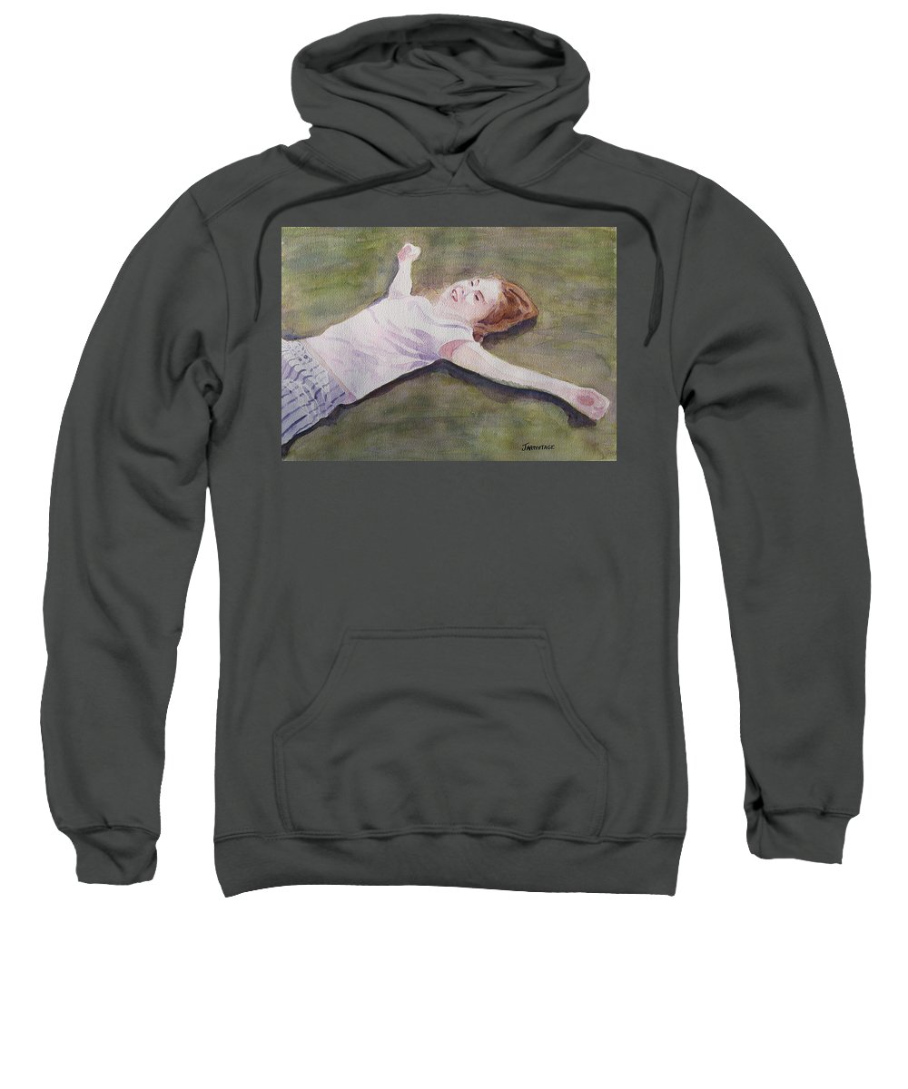 Girl Sweatshirt featuring the painting Floating On The Lawn by Jenny Armitage