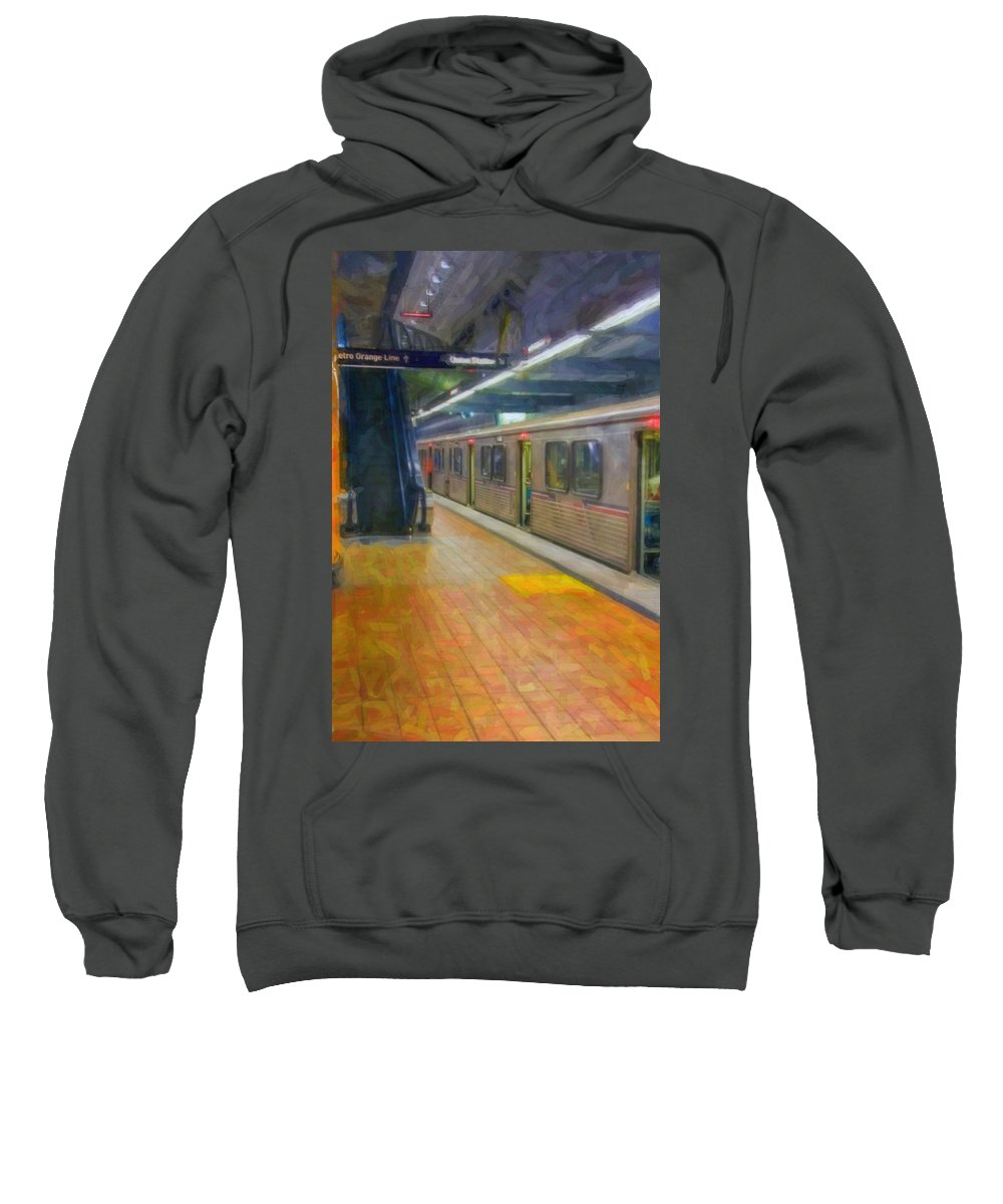 Metro Red Line - Hollywood - Vine Subway Station - Los Angeles Sweatshirt featuring the photograph Hollywood Subway Station by David Zanzinger