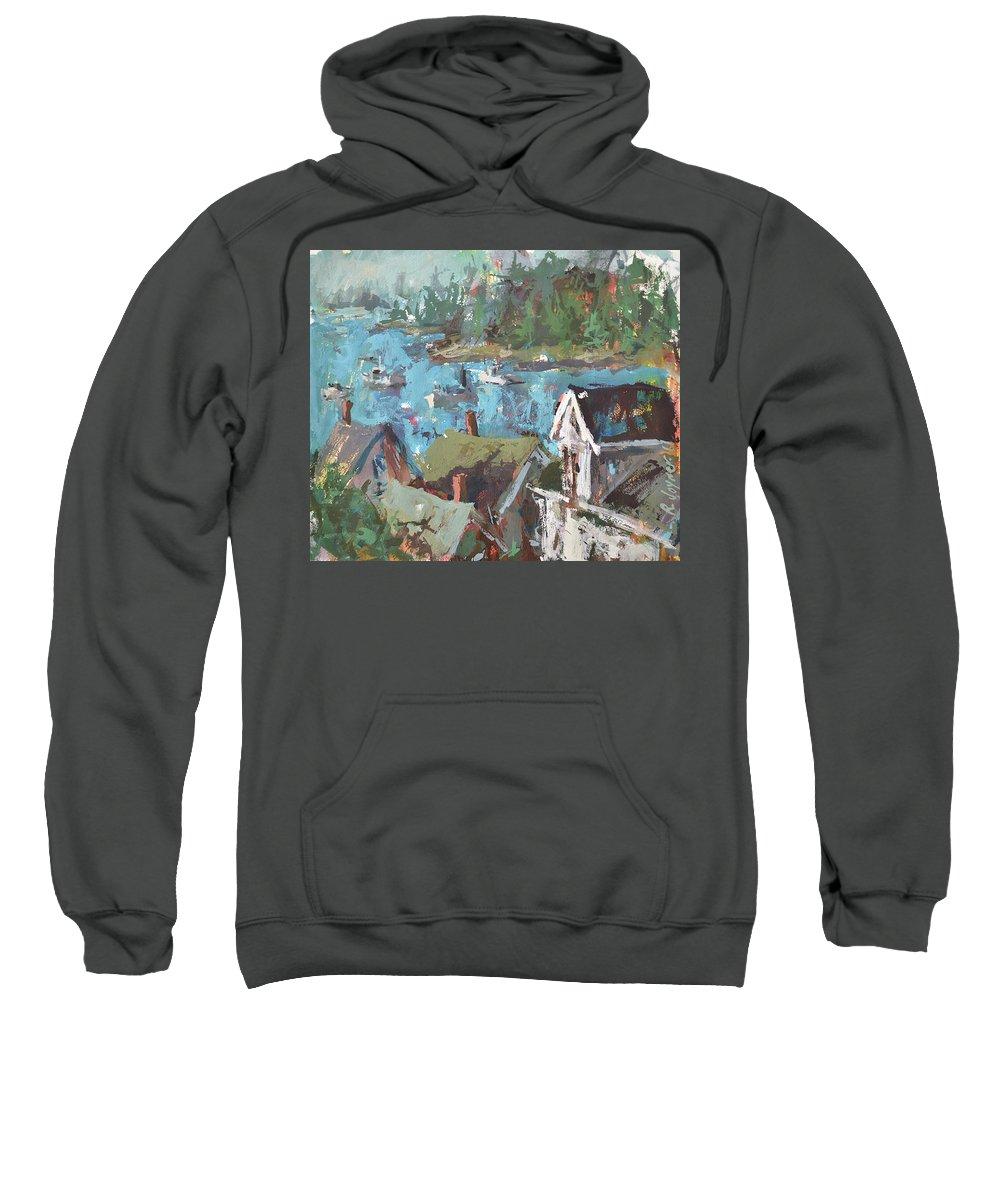 Art Sweatshirt featuring the painting Original Modern Abstract Maine Landscape Painting by Robert Joyner