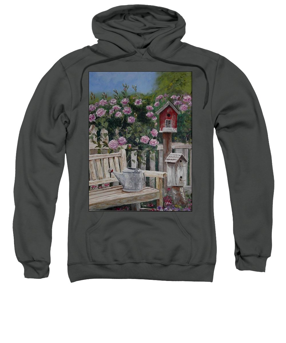 Charity Sweatshirt featuring the painting Take A Seat by Mary-Lee Sanders