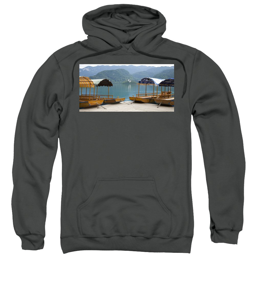 Tourism Sweatshirt featuring the photograph View Across Lake Bled by Ian Middleton