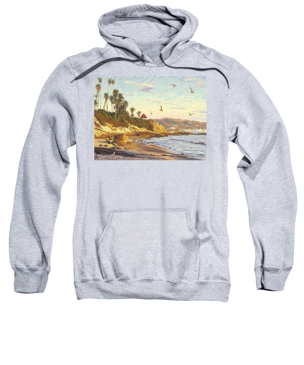 Twilight Sweatshirt featuring the painting Heisler Park Rockpile At Twilight by Steve Simon