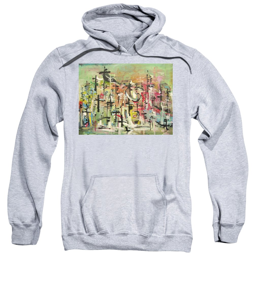 Blow Me Down Painting Sweatshirt featuring the painting Blow Me Down11 by Seon-Jeong Kim