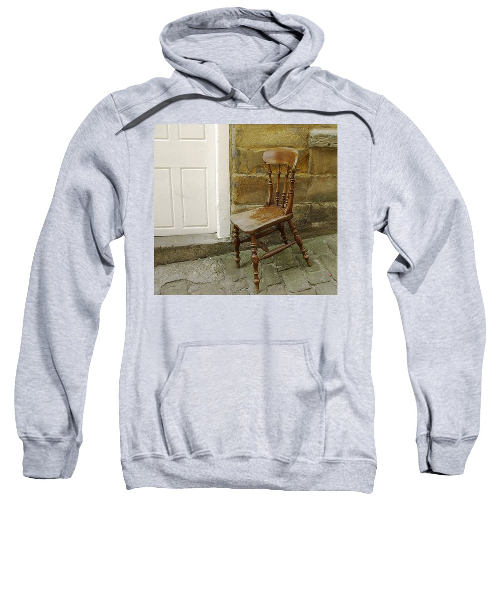 Chair Sweatshirt featuring the photograph Chair And The Door by Cliff Norton