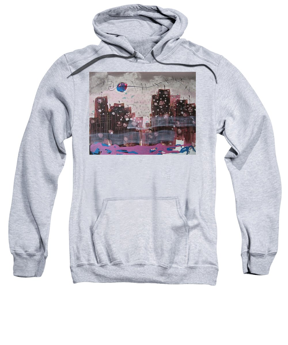 Brown Paintings Sweatshirt featuring the painting Cityscape by Seon-Jeong Kim