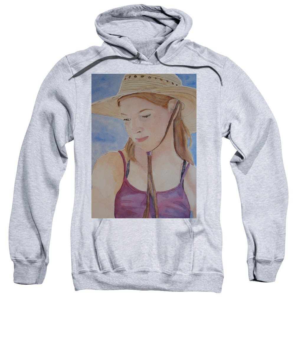 Girl Sweatshirt featuring the painting Hat And Shoulders by Jenny Armitage