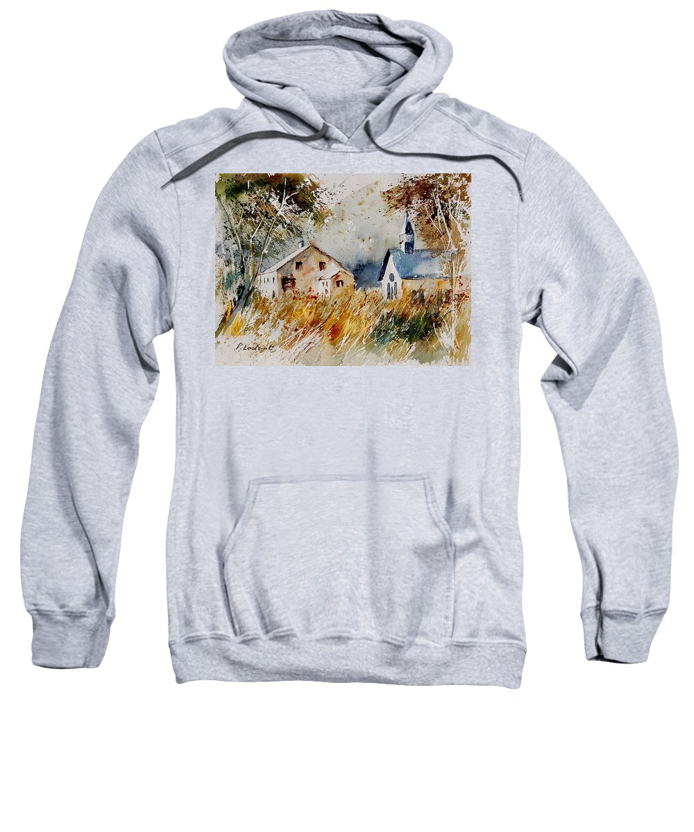 Landscape Sweatshirt featuring the painting Old Chapel In Herhet by Pol Ledent