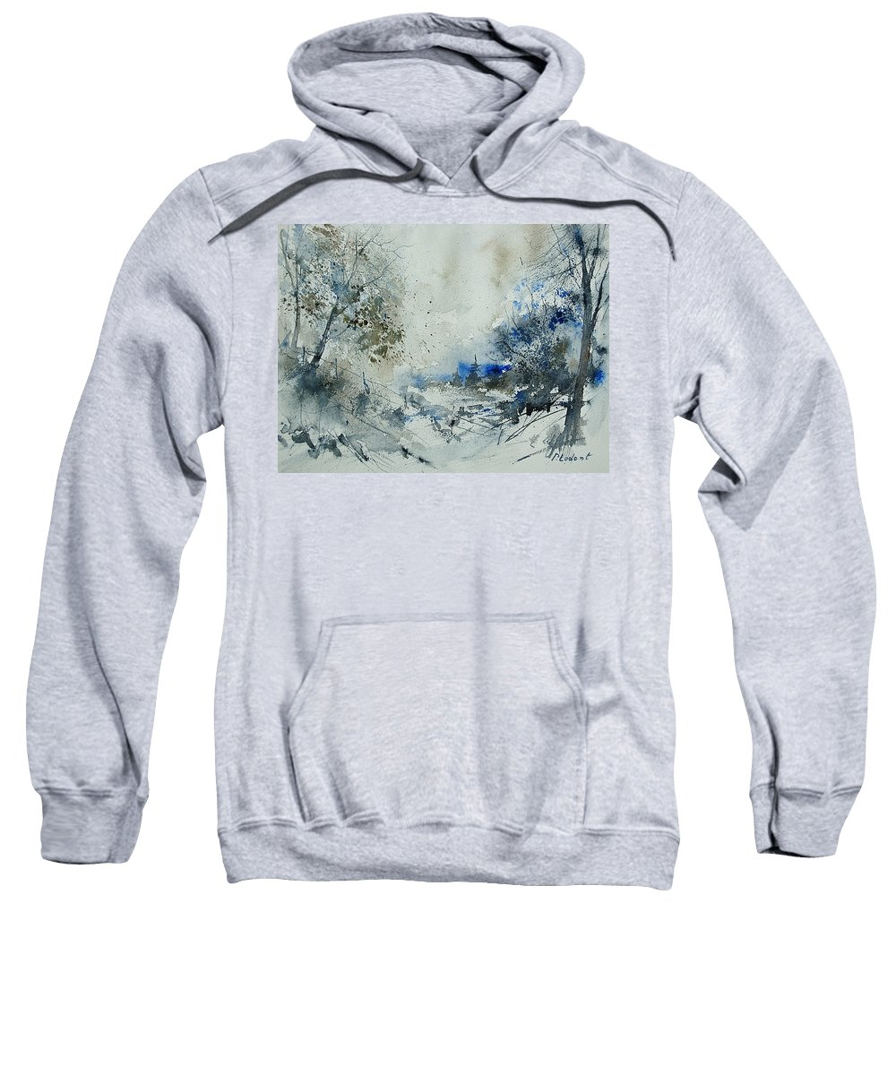 Winter Sweatshirt featuring the painting Watercolor 210307 by Pol Ledent