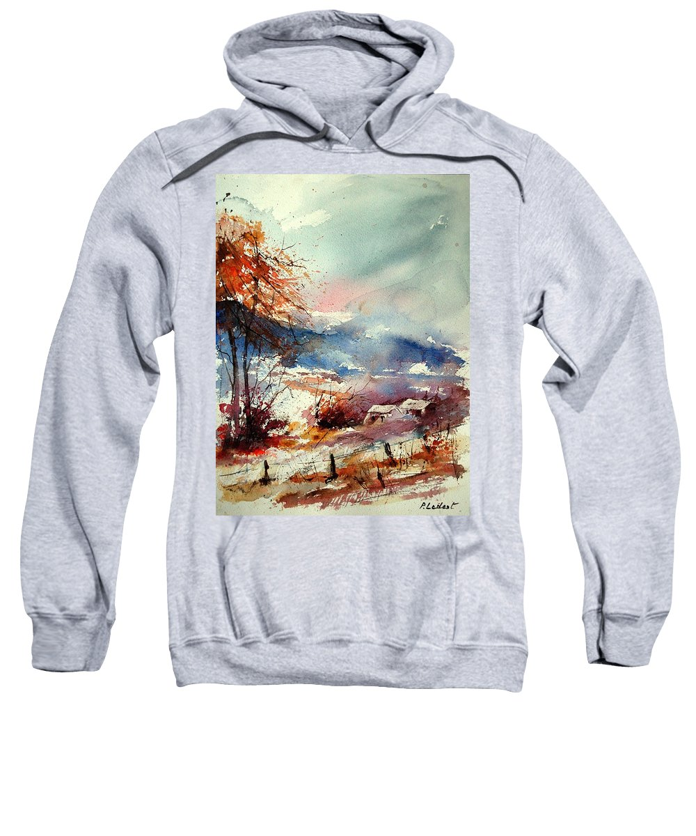 Winter Sweatshirt featuring the painting Watercolor 221108 by Pol Ledent