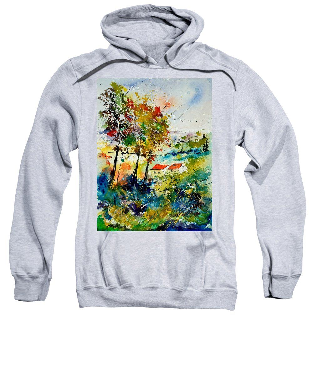 Poppies Sweatshirt featuring the painting Watercolor 903001 by Pol Ledent
