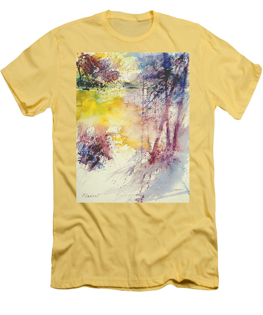 River Men's T-Shirt (Athletic Fit) featuring the painting Watercolor 007 by Pol Ledent