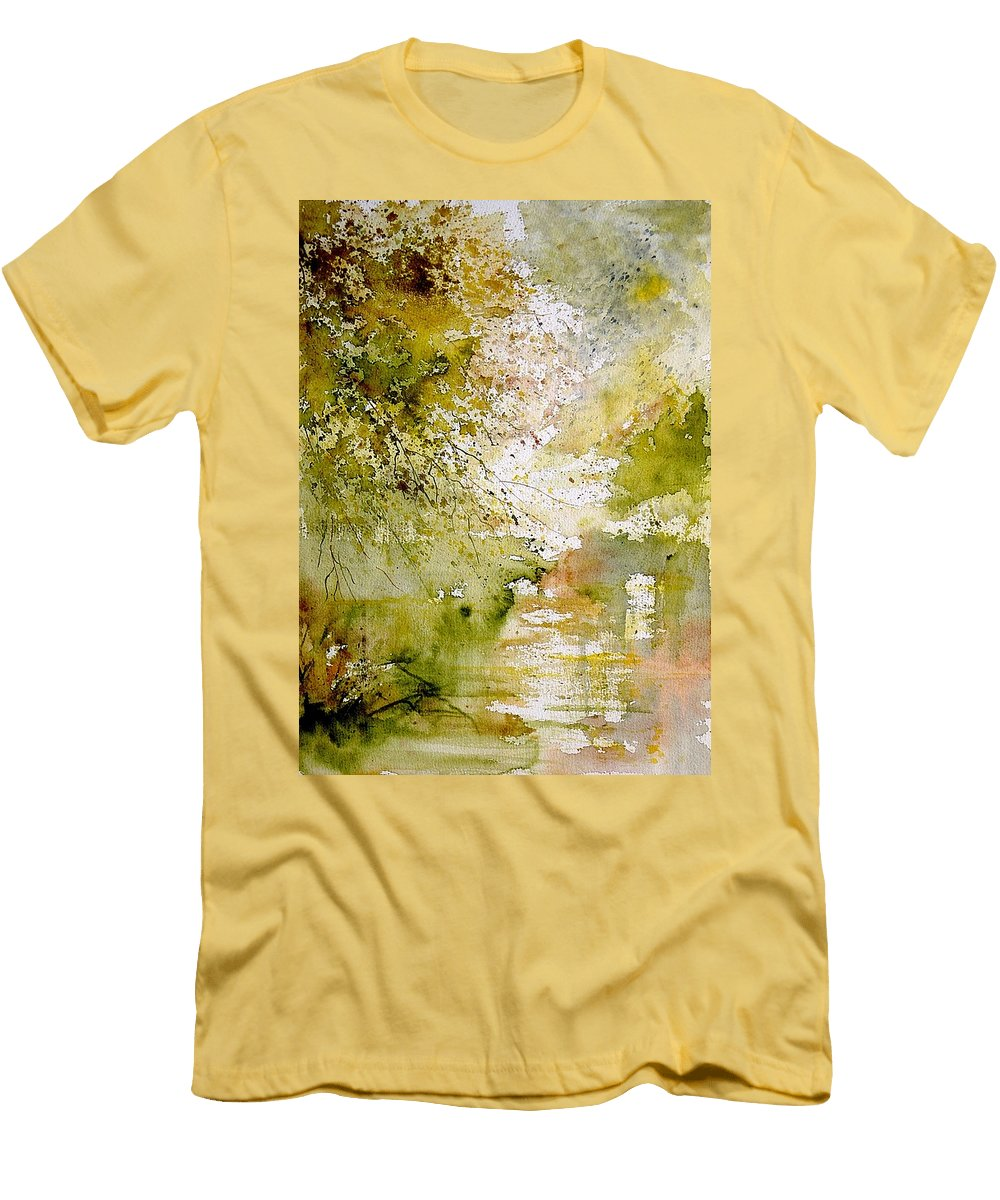 Water Men's T-Shirt (Athletic Fit) featuring the painting Watercolor 211005 by Pol Ledent