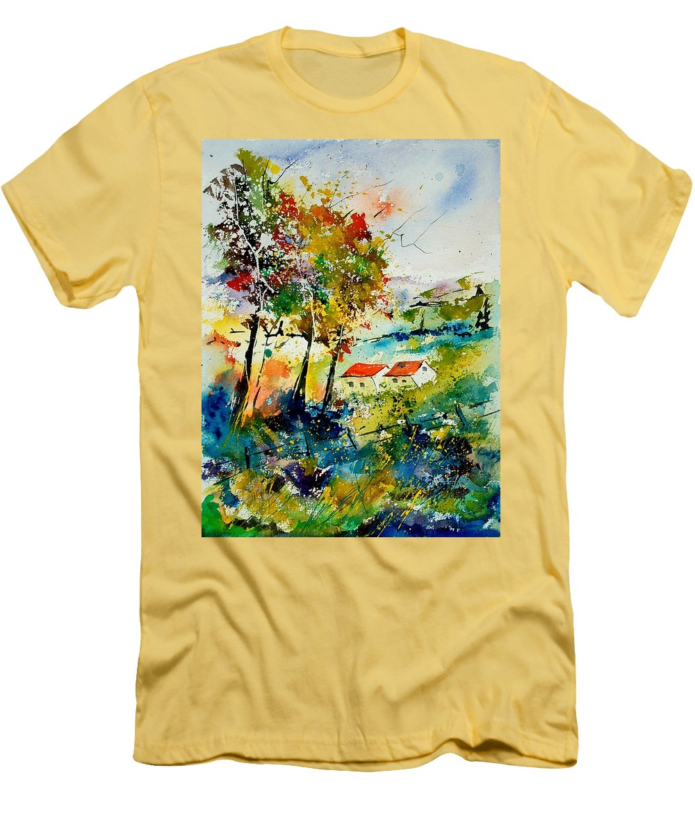 Poppies Men's T-Shirt (Athletic Fit) featuring the painting Watercolor 903001 by Pol Ledent