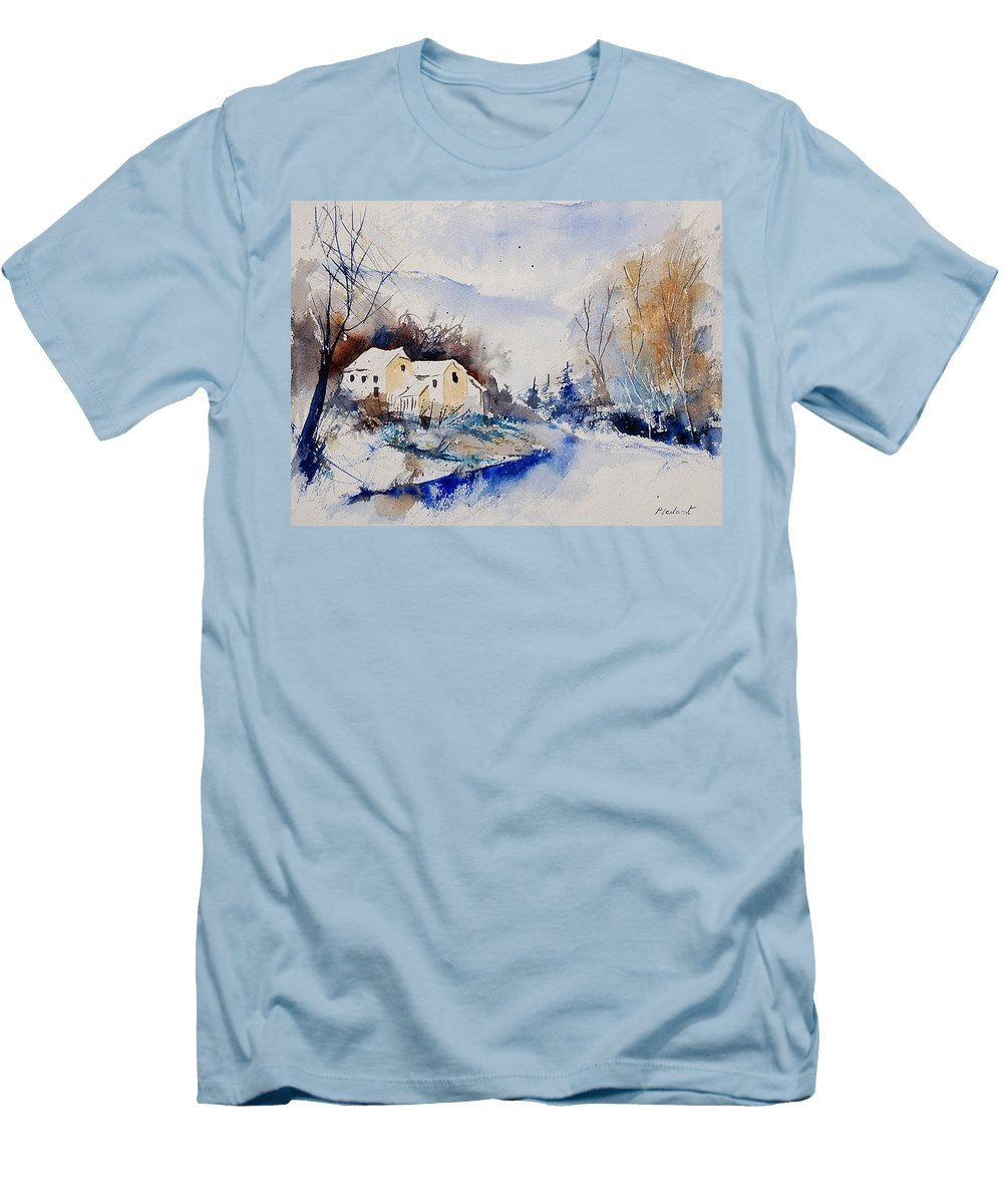 Winter Men's T-Shirt (Athletic Fit) featuring the painting Watercolor 080408 by Pol Ledent