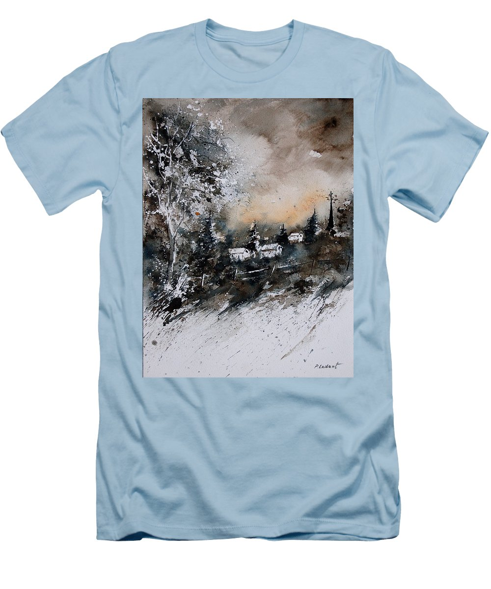 Winter Men's T-Shirt (Athletic Fit) featuring the painting Watercolor 121206 by Pol Ledent