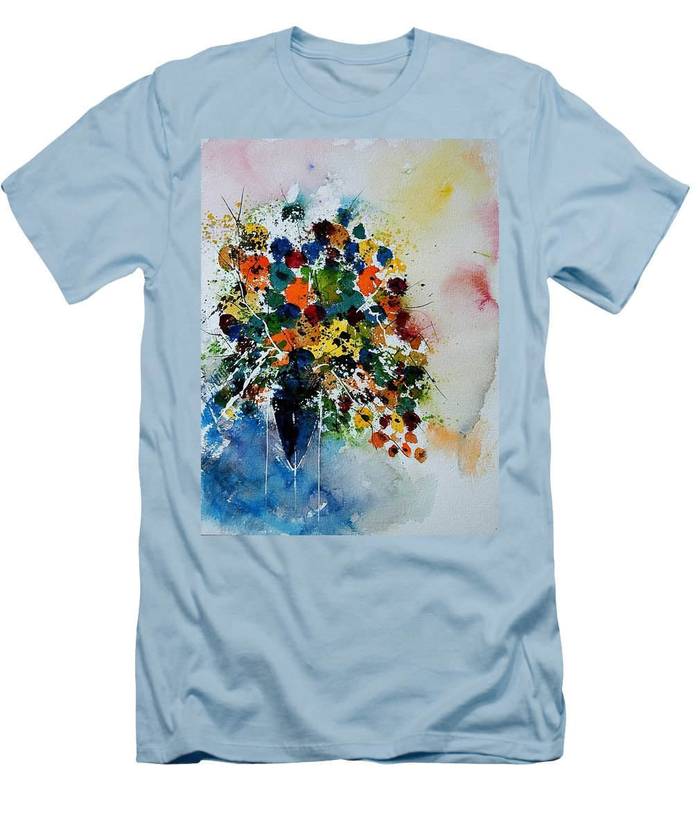 Flowers Men's T-Shirt (Athletic Fit) featuring the painting Watercolor 220407 by Pol Ledent