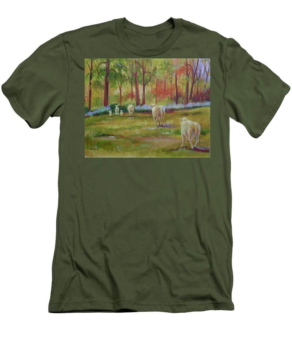 Sheep Men's T-Shirt (Athletic Fit) featuring the painting Sheeple by Ginger Concepcion