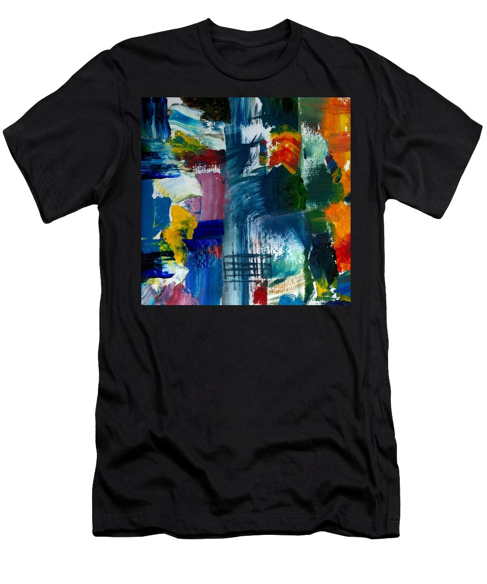 Abstract Collage Men's T-Shirt (Athletic Fit) featuring the painting Abstract Color Relationships L by Michelle Calkins