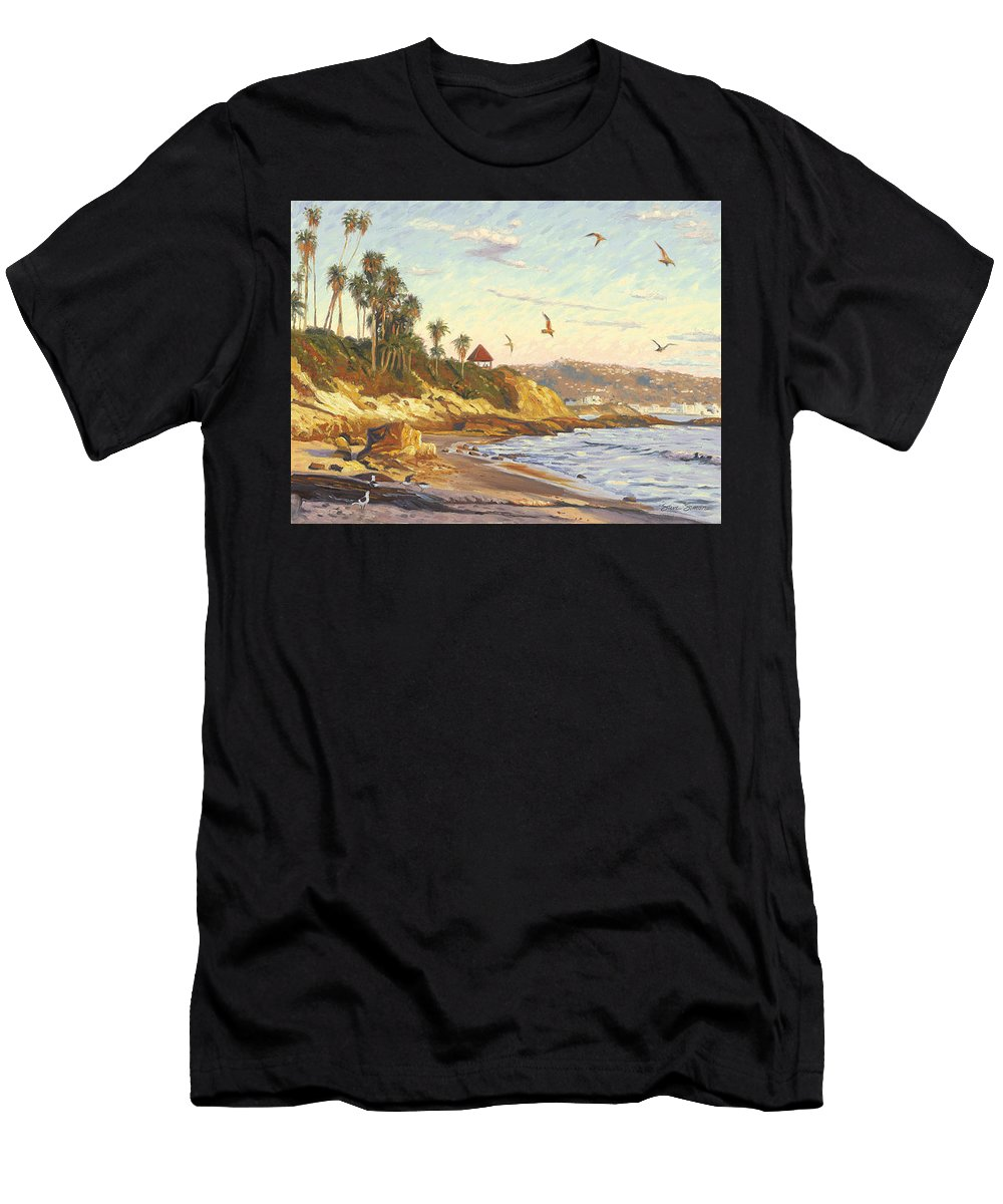 Twilight Men's T-Shirt (Athletic Fit) featuring the painting Heisler Park Rockpile At Twilight by Steve Simon