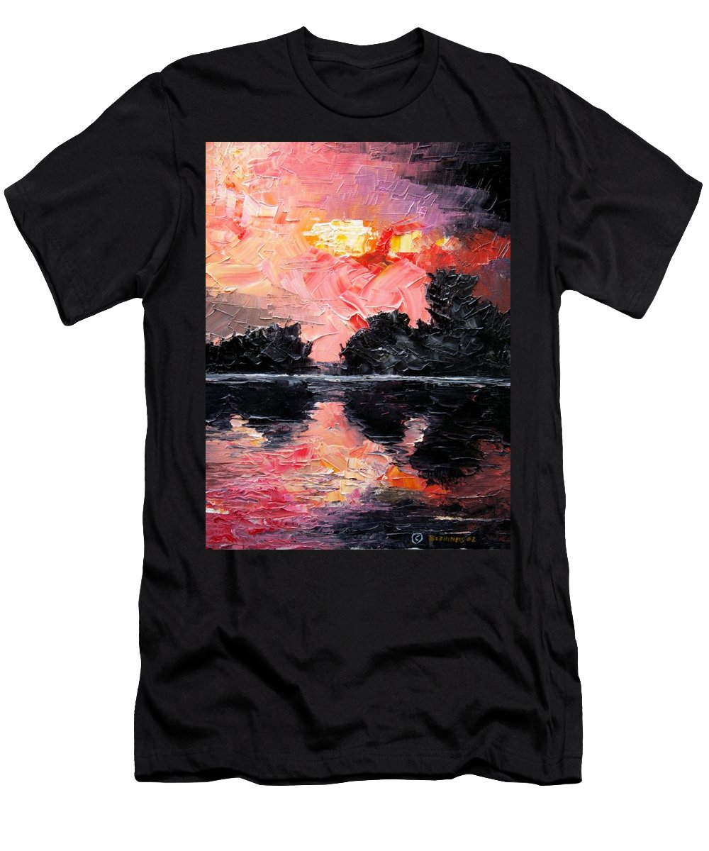 Lake After Storm Men's T-Shirt (Athletic Fit) featuring the painting Sunset. After Storm. by Sergey Bezhinets
