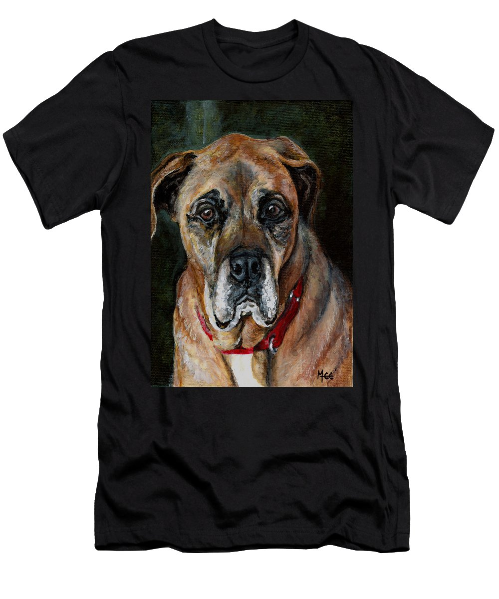 Boxer Men's T-Shirt (Athletic Fit) featuring the painting Boo For Dogtown by Mary-Lee Sanders