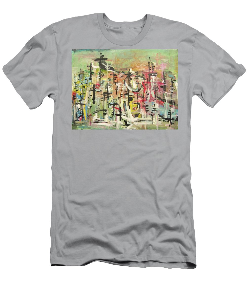 Blow Me Down Painting Men's T-Shirt (Athletic Fit) featuring the painting Blow Me Down11 by Seon-Jeong Kim