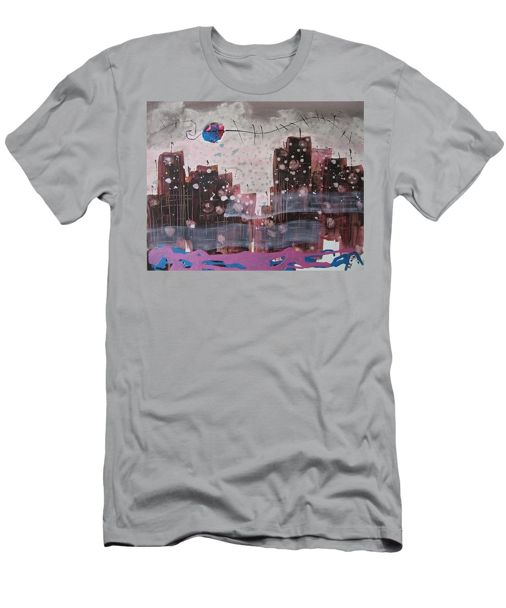 Brown Paintings Men's T-Shirt (Athletic Fit) featuring the painting Cityscape by Seon-Jeong Kim
