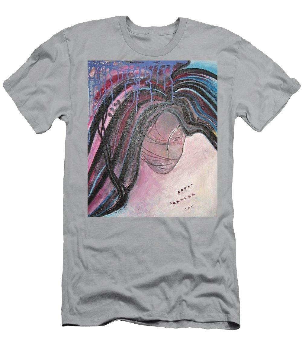 Abstract Paintings Men's T-Shirt (Athletic Fit) featuring the painting I by Seon-Jeong Kim