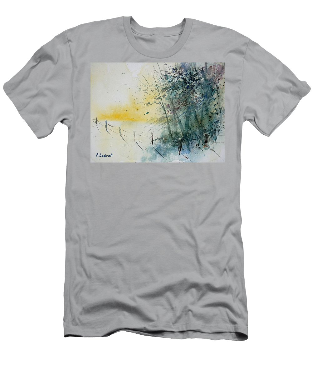 Winter Men's T-Shirt (Athletic Fit) featuring the painting Watercolor 080708 by Pol Ledent