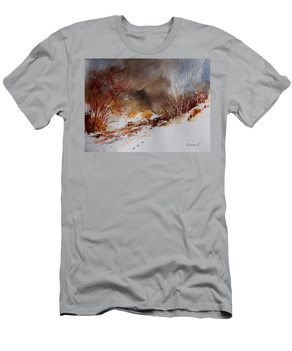 Winter Men's T-Shirt (Athletic Fit) featuring the painting Watercolor 100508 by Pol Ledent