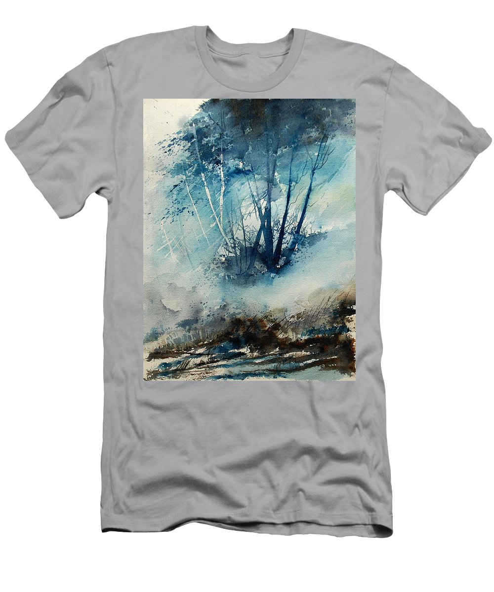 Tree Men's T-Shirt (Athletic Fit) featuring the painting Watercolor 230907 by Pol Ledent