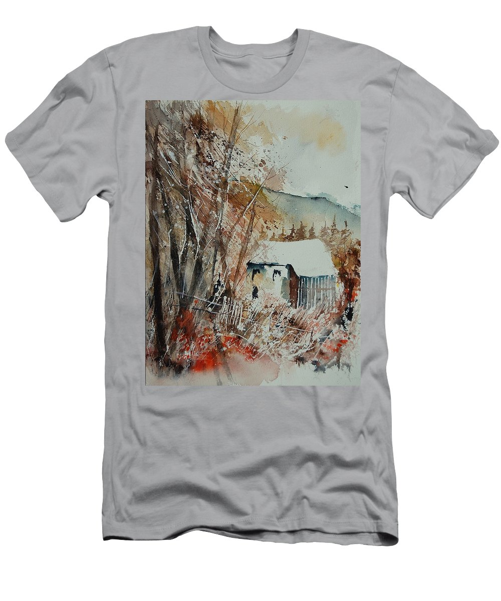 Tree Men's T-Shirt (Athletic Fit) featuring the painting Watercolor 902001 by Pol Ledent
