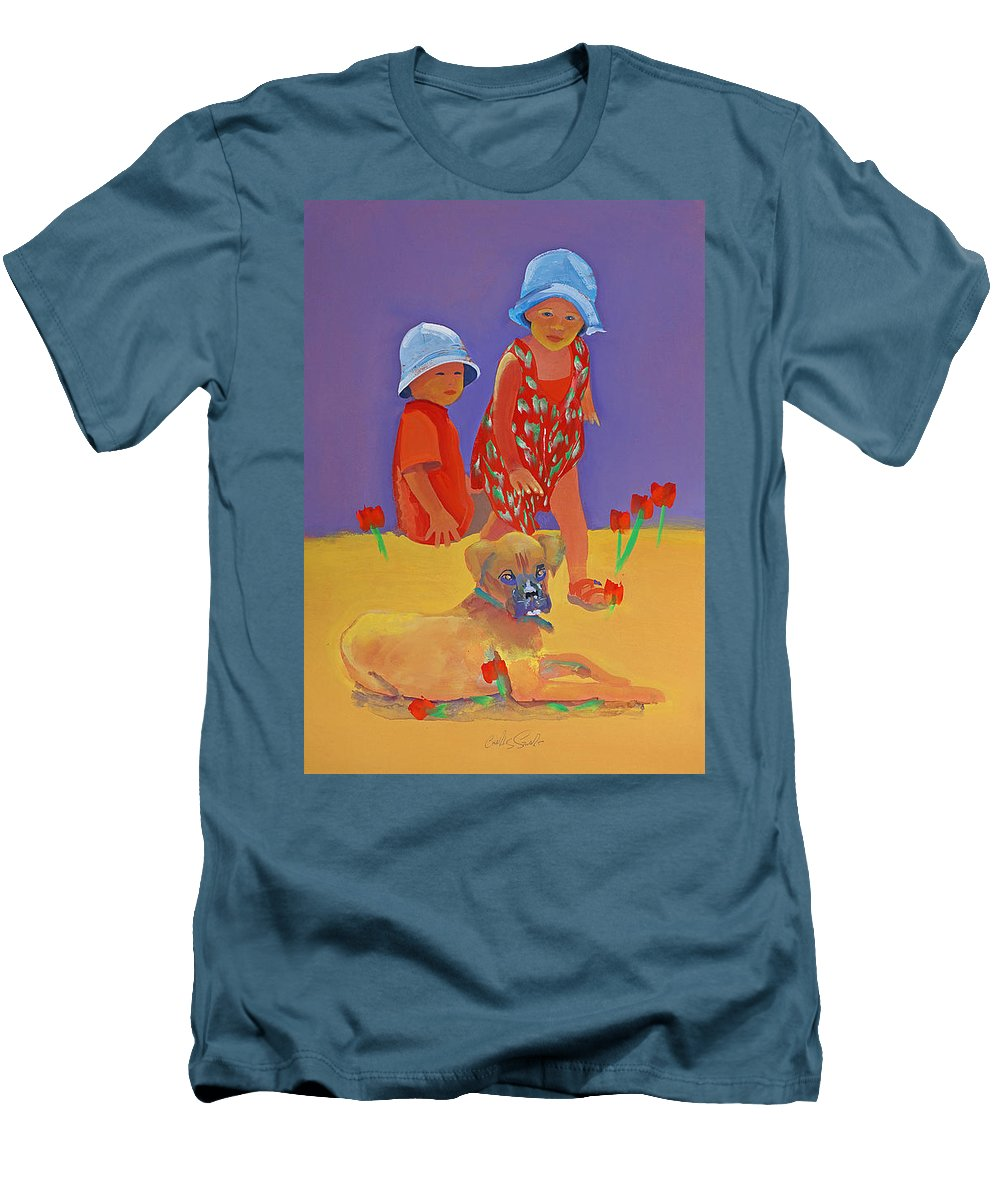 Boxer Dog Men's T-Shirt (Athletic Fit) featuring the painting The Boxer Puppy by Charles Stuart