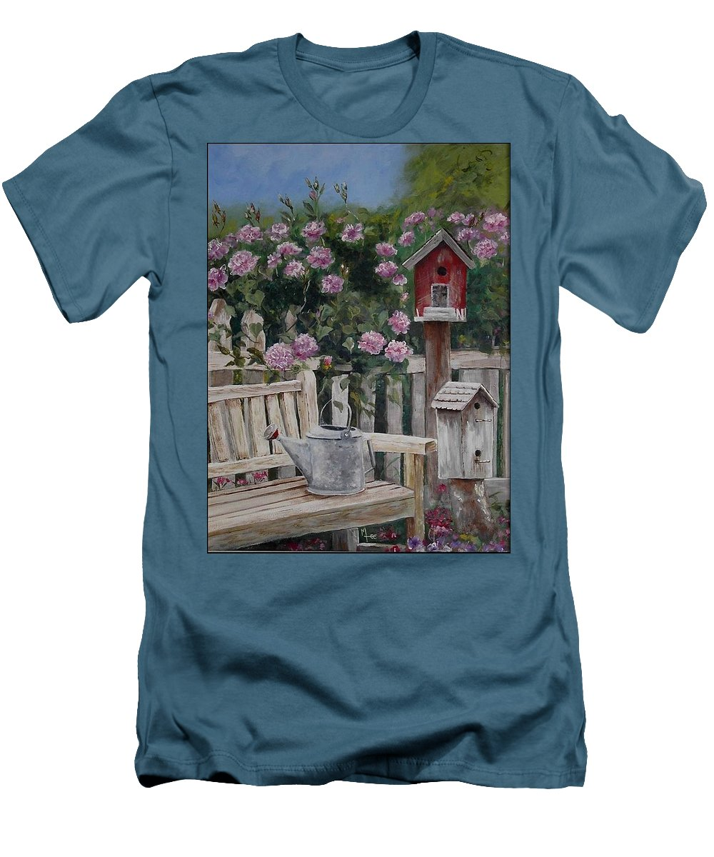 Charity Men's T-Shirt (Athletic Fit) featuring the painting Take A Seat by Mary-Lee Sanders