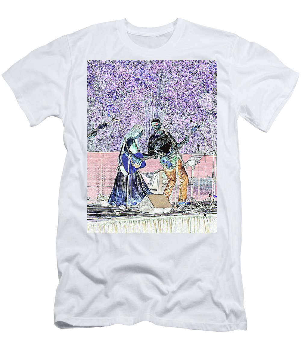 Guitars Men's T-Shirt (Athletic Fit) featuring the photograph Performers On Stage by Marilyn Holkham