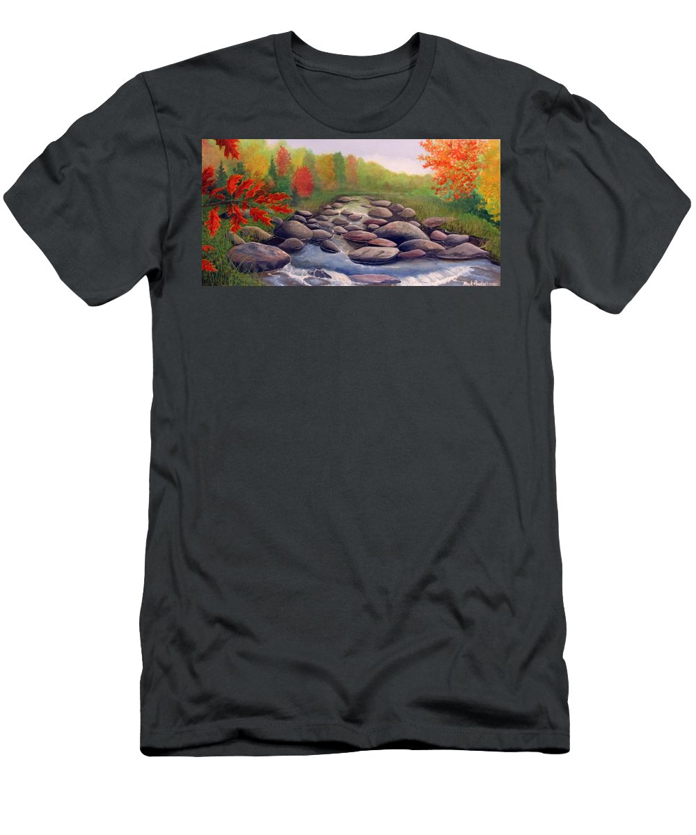 Rick Huotari Men's T-Shirt (Athletic Fit) featuring the painting Cherokee Park by Rick Huotari