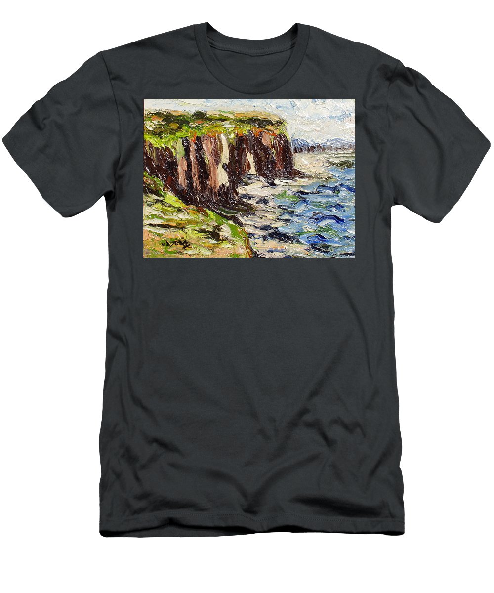Abstract Paintings Men's T-Shirt (Athletic Fit) featuring the painting Cliff by Seon-Jeong Kim