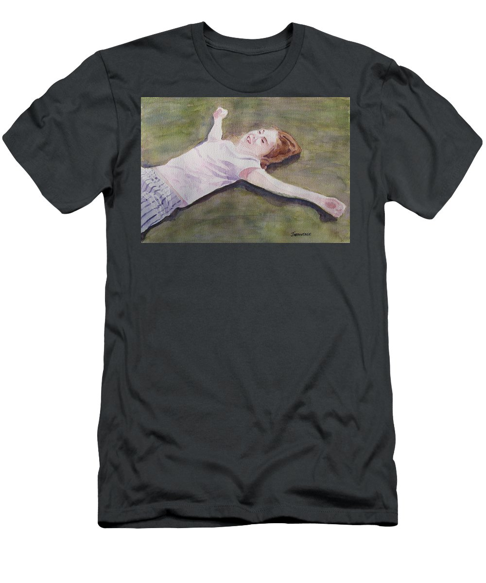 Girl Men's T-Shirt (Athletic Fit) featuring the painting Floating On The Lawn by Jenny Armitage
