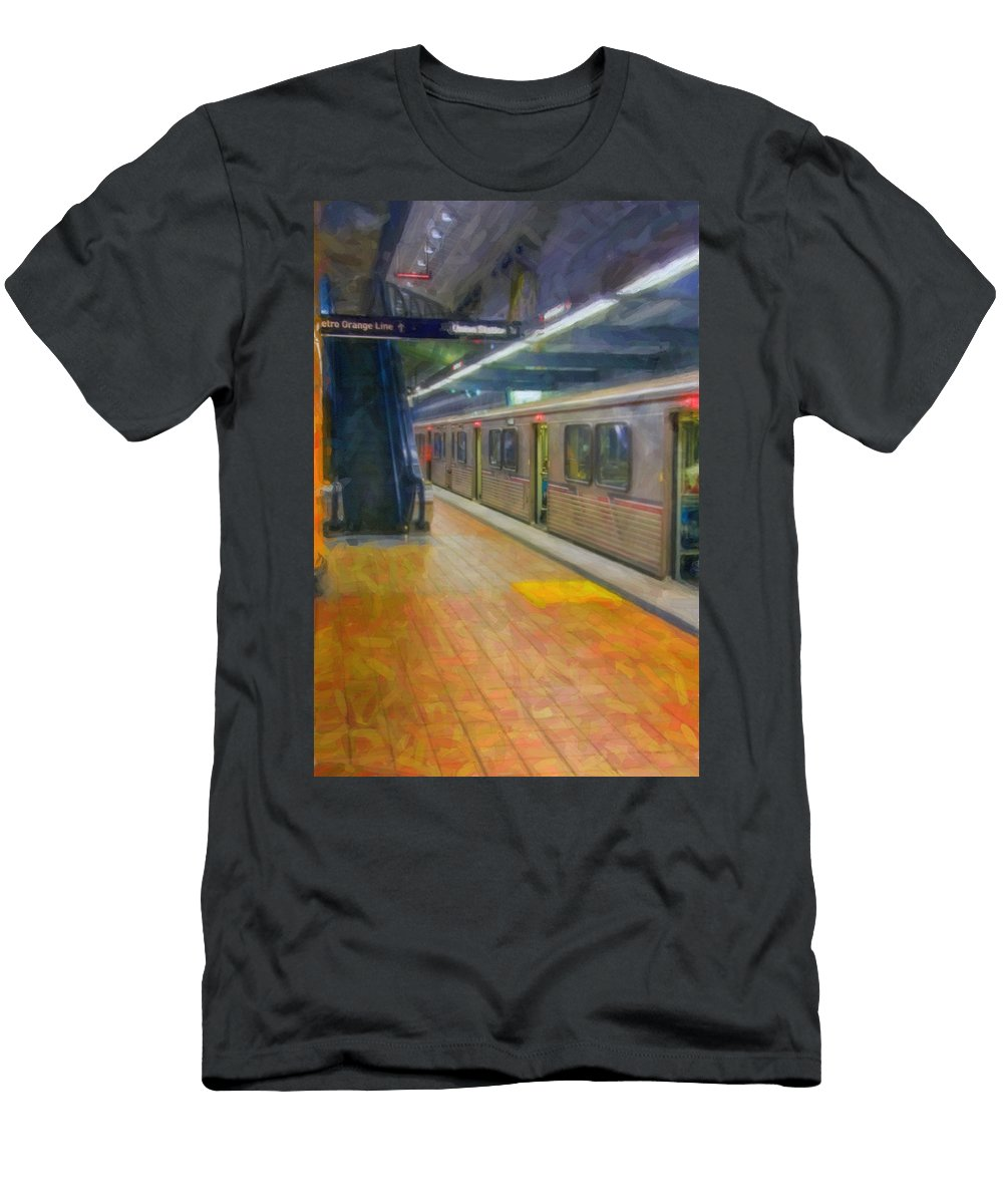 Metro Red Line - Hollywood - Vine Subway Station - Los Angeles Men's T-Shirt (Athletic Fit) featuring the photograph Hollywood Subway Station by David Zanzinger