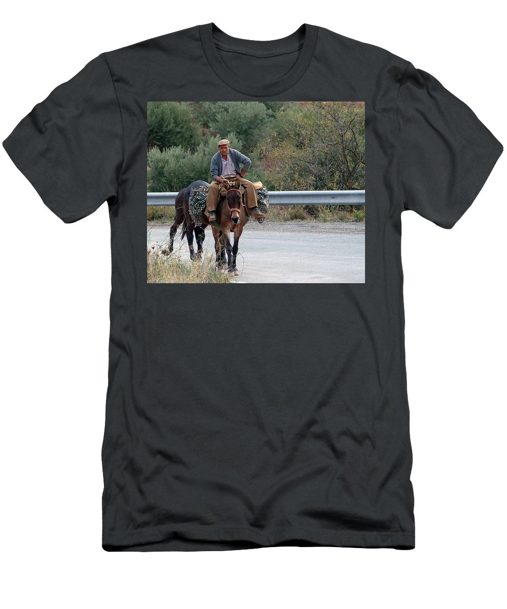 Donkey Men's T-Shirt (Athletic Fit) featuring the photograph Local Travells By Donkey by Cliff Norton