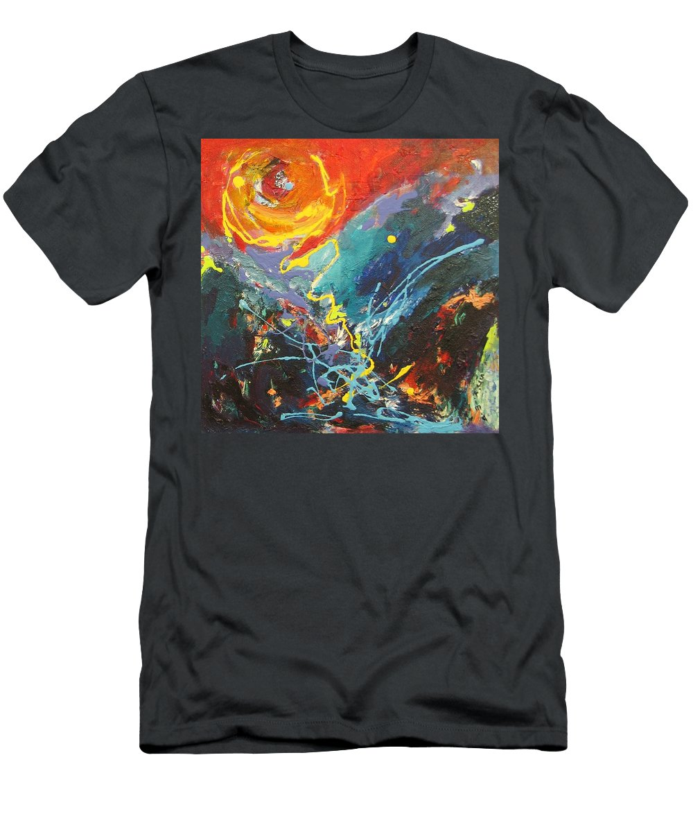Abstract Paintings Men's T-Shirt (Athletic Fit) featuring the painting The Narrows by Seon-Jeong Kim
