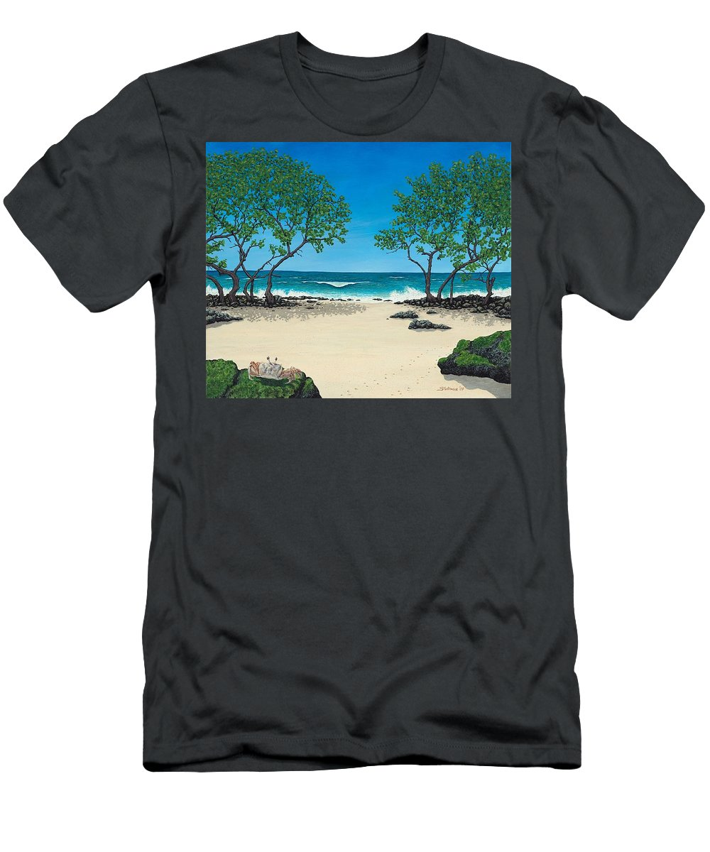 Ocean Men's T-Shirt (Athletic Fit) featuring the painting Where Is My Corona by Shawn Stallings