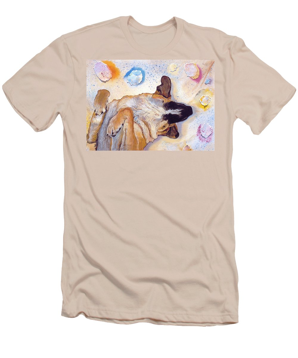 Sleeping Dog Men's T-Shirt (Athletic Fit) featuring the painting Dog Dreams by Pat Saunders-White