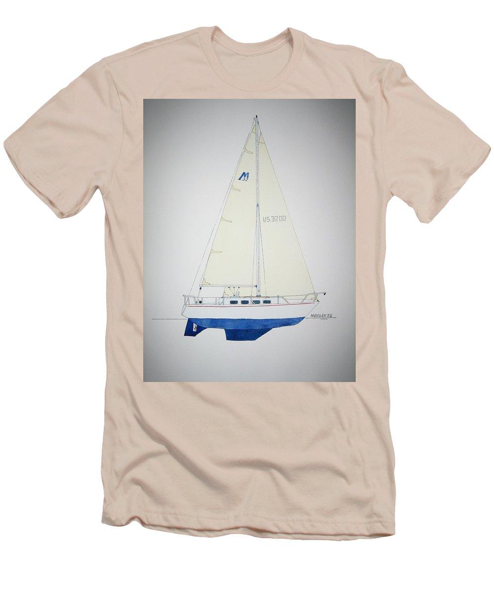 Sail Sailboat Ocean Sea Morgan Boat Nautical Yacht Men's T-Shirt (Athletic Fit) featuring the painting Morgan 32 by Jeff Lucas