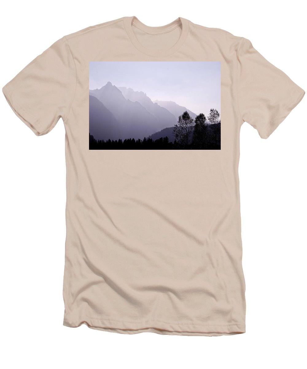 Mountain Silhouette Men's T-Shirt (Athletic Fit) featuring the photograph Silhouette Austria Europe by Sabine Jacobs